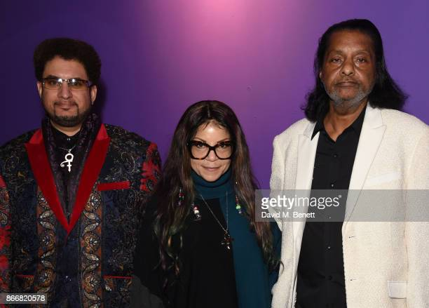 Omarr Baker Tyka Nelson and Alfred Jackson attend a private view of My Name Is Prince at The O2 Arena on October 26 2017 in London England