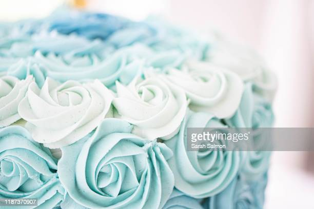 ombré blue rosette cake - icing stock pictures, royalty-free photos & images