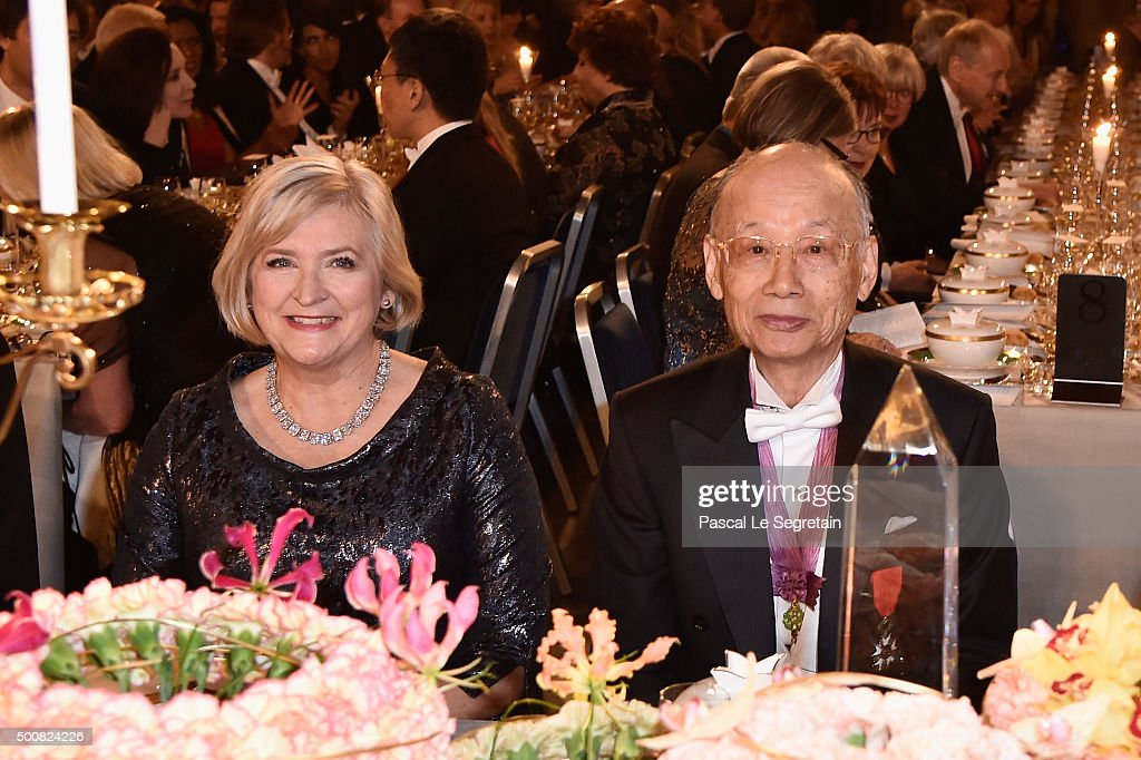Ombudsman Ulla Lofven and Nobel Prize in Physiology or Medicine, Professor Satoshi Omura attend the Nobel Prize Banquet 2015 at City Hall on December 10, 2015 in Stockholm, Sweden.