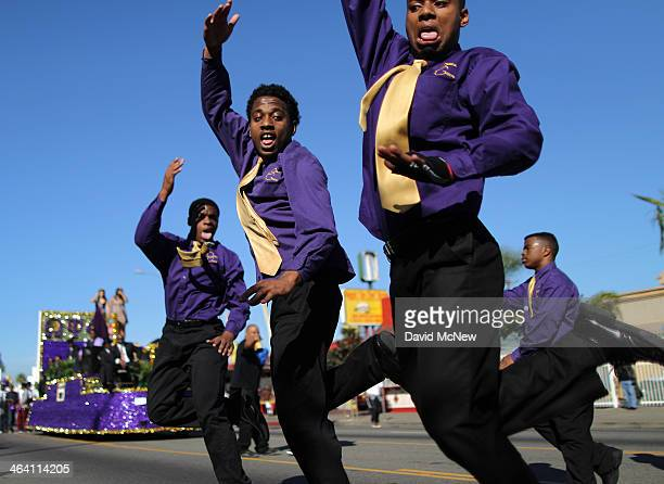 Omega Gents of Morningside High School dance in the 29th annual Kingdom Day Parade on January 20 2014 in Los Angeles California The Kingdom Day...