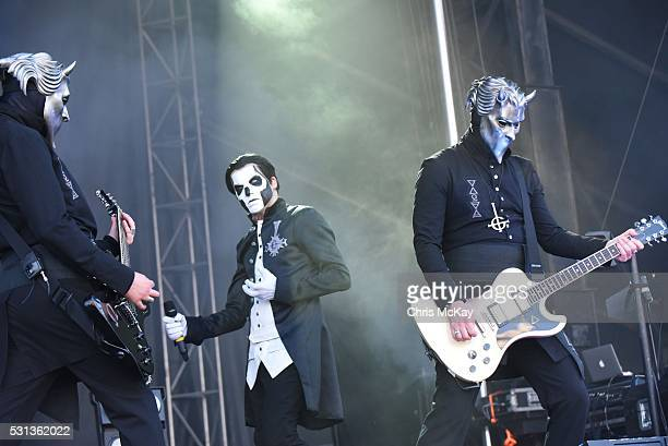 Omega Papa Emeritus III and Alpha of Ghost perform at Shaky Knees Music Festival at Centennial Olympic Park on May 13 2016 in Atlanta Georgia