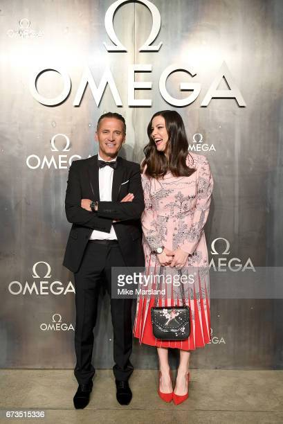 Omega President and CEO Raynald Aeschlimann with Liv Tyler at the OMEGA 'Lost In Space' dinner to celebrate the 60th anniversary of the OMEGA...