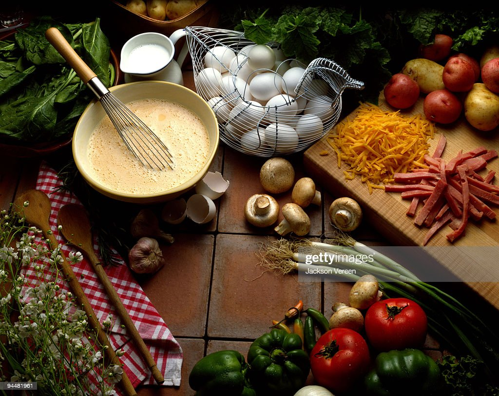 Omelet ingredients : Stock Photo