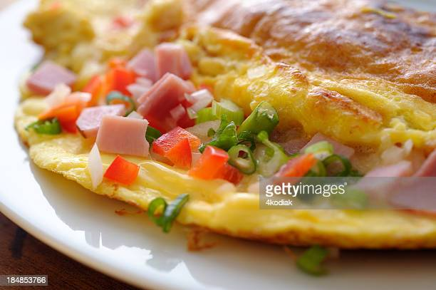 Omelet with ham and peppers inside