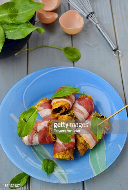 Omelette with sorrel and bacon