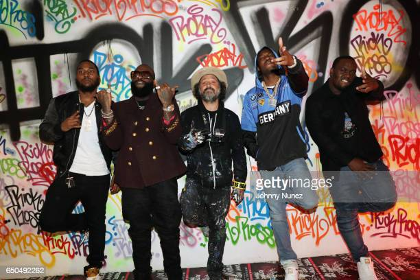 Omelly Rick Ross Mr Brainwash Meek Mill and Scrilla attend the Rick Ross and Mr Brainwash 'Rather You Than Me' Album Listening Experience on March 8...