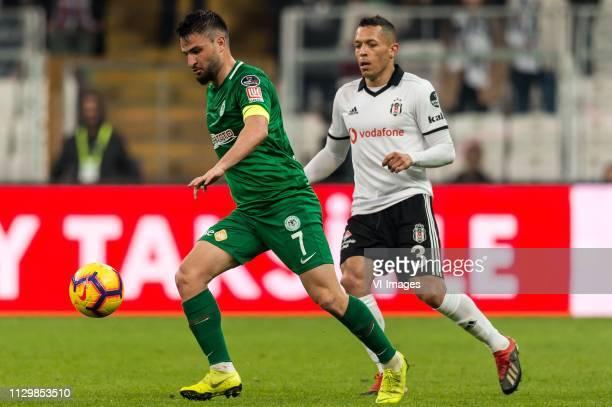 Omer Ali Sahiner of Atiker Konyaspor Adriano Correia Claro of Besiktas JK during the Turkish Spor Toto Super Lig football match between Besiktas JK...