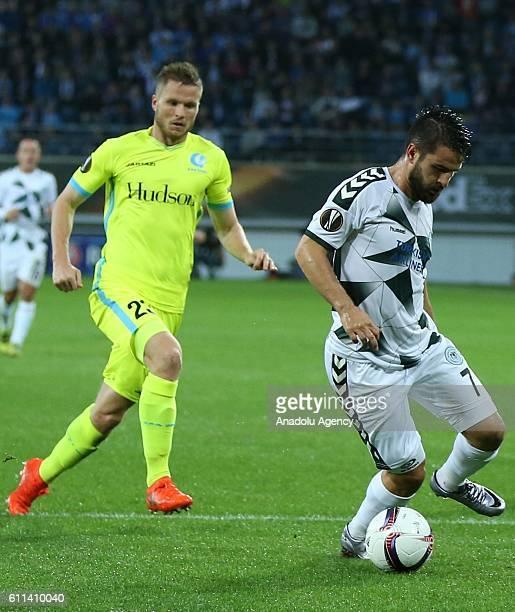 Omer Ali Sahiner of Atiker Konyaspor in action during the UEFA Europa League Group H football match between Gent and Atiker Konyaspor at the Ghelamco...