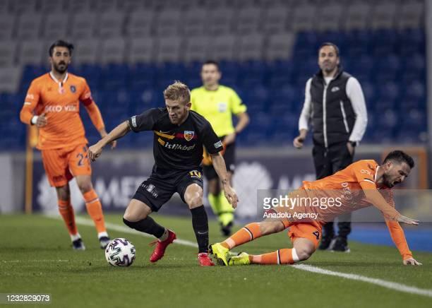 Omer Ali Sahiner of Medipol Basaksehir in action against Pedro Henrique of Hes Kablo Kayserispor during Turkish Super Lig week 41 soccer match...