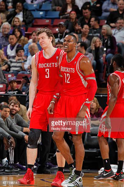 Omer Asik and Dwight Howard of the Houston Rockets in a game against the Sacramento Kings on February 25 2014 at Sleep Train Arena in Sacramento...