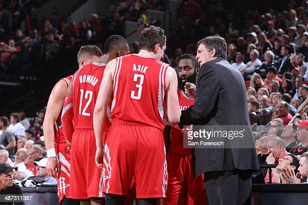 Omer Asik and the Houston Rockets huddle up against the Portland Trail Blazers in Game Three of the Western Conference Quarterfinals during the 2014...
