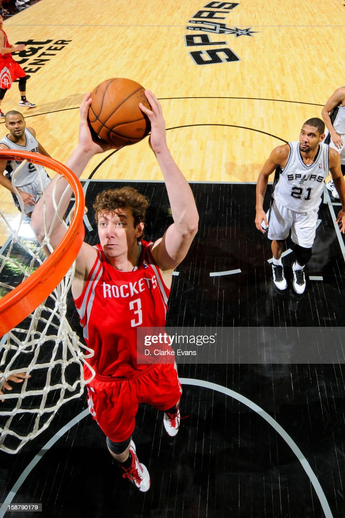 Omer Asik #3 of the Houston Rockets drives to the basket against the San Antonio Spurs on December 28, 2012 at the AT&T Center in San Antonio, Texas.