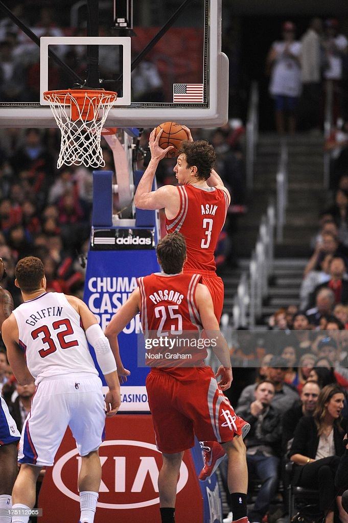 Omer Asik #3 of the Houston Rockets goes to the basket during the game between the Los Angeles Clippers and the Houston Rockets at Staples Center on February 13, 2013 in Los Angeles, California.
