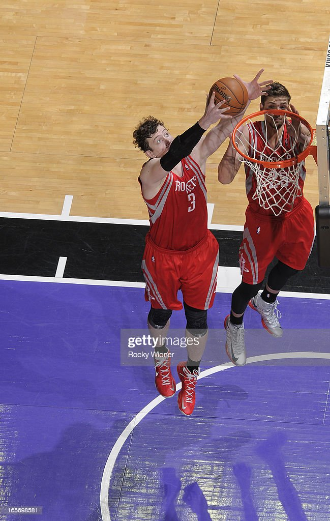 Omer Asik #3 of the Houston Rockets rebounds against the Sacramento Kings on April 3, 2013 at Sleep Train Arena in Sacramento, California.