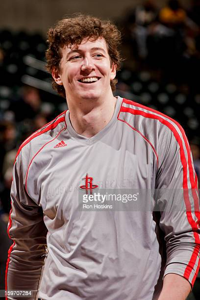 Omer Asik of the Houston Rockets smiles before a game against the Indiana Pacers on January 18 2013 at Bankers Life Fieldhouse in Indianapolis...