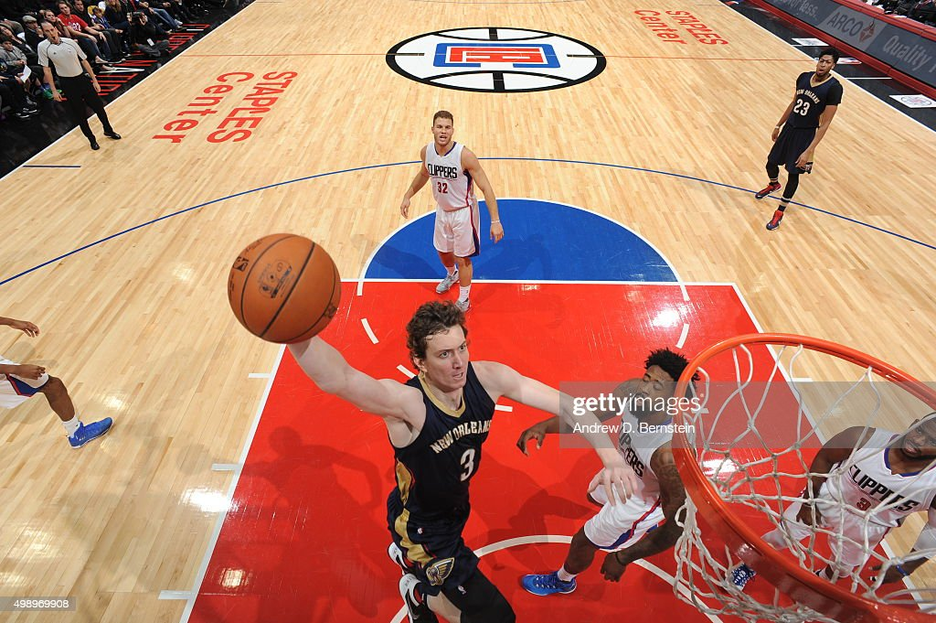 Omer Asik #3 of the New Orleans Pelicans goes to the basket against the Los Angeles Clippers on November 27, 2015 at STAPLES Center in Los Angeles, California.