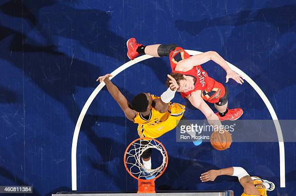 Omer Asik of the New Orleans Pelicans shoots against the Indiana Pacers on December 23 2014 at Bankers Life Fieldhouse in Indianapolis Indiana NOTE...