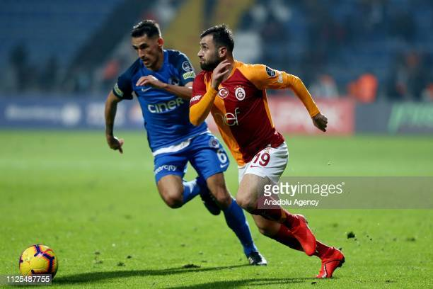 Omer Bayram of Galatasaray in action against Loret Sadiku of Kasimpasa during the Turkish Super Lig soccer match between Kasimpasa and Galatasaray at...