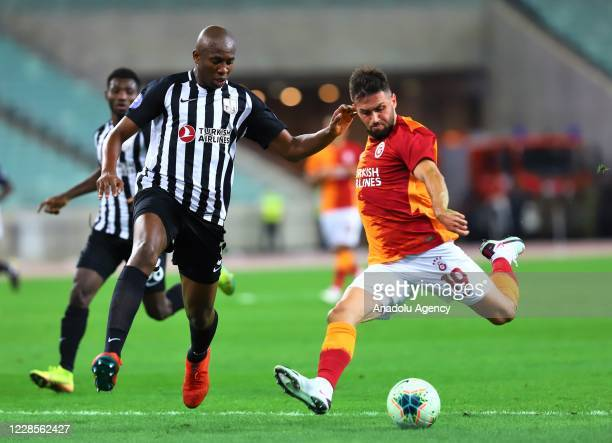 Omer Bayram of Galatasaray in action during the second qualifying round of the UEFA Europa League match between Neftchi and Galatasaray, on September...