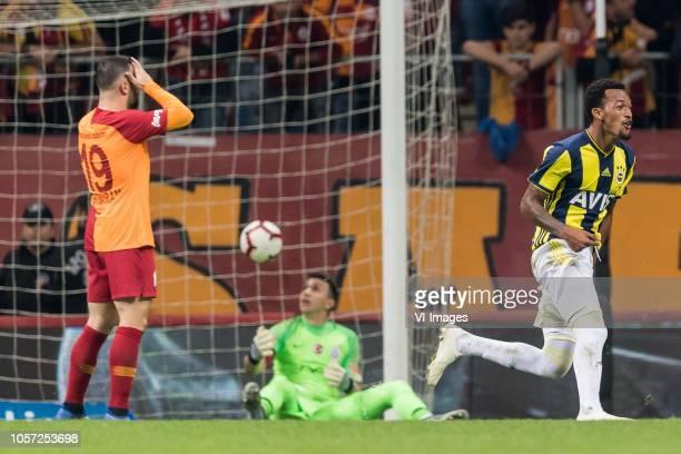 Omer Bayram of Galatasaray SK goalkeeper Fernando Muslera of Galatasaray SK Jailson Marques Siqueira of Fenerbahce SK during the Turkish Spor Toto...