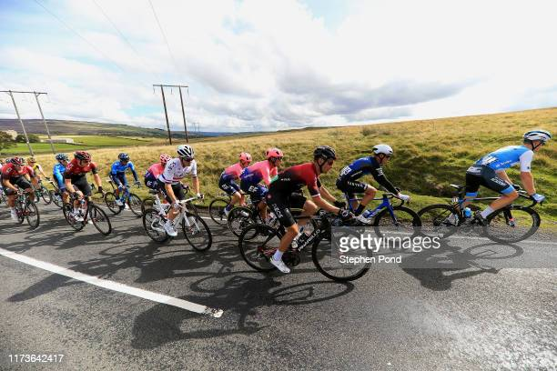 Omer Goldstein of Israel and Team Israel Cycling Academy / Tom Stewart of Great Britain and Team Canyon dhb p/b Bloor Homes / Michal Golas of Poland...