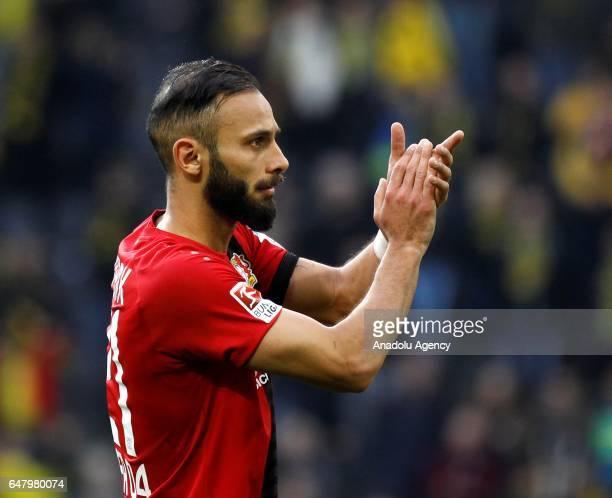 Omer Toprak of Bayer 04 Leverkusen reacts after the Bundesliga soccer match between Borussia Dortmund and Bayer 04 Leverkusen at the Signal Iduna...