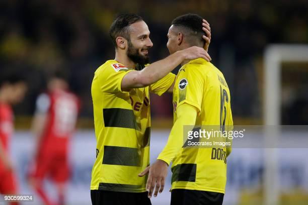 Omer Toprak of Borussia Dortmund Manuel Akanji of Borussia Dortmund celebrates the victory during the German Bundesliga match between Borussia...