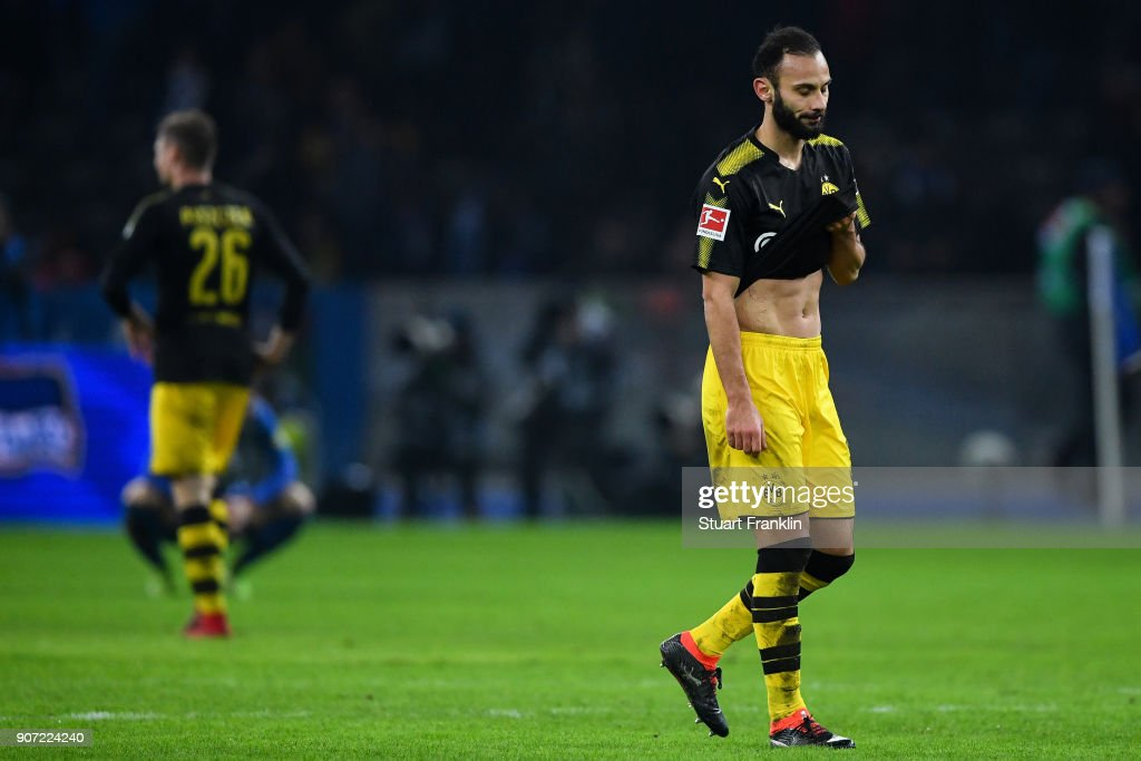 Omer Toprak #36 of Borussia Dortmund reacts after the Bundesliga match between Hertha BSC and Borussia Dortmund at Olympiastadion on January 19, 2018 in Berlin, Germany.