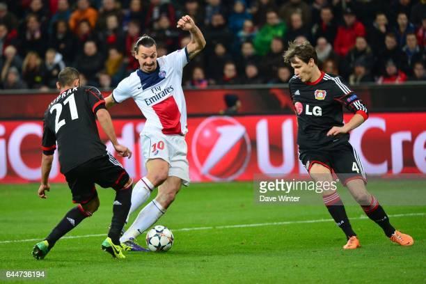Omer TOPRAK / Zlatan IBRAHIMOVIC / Philipp WOLLSCHEID Bayer Leverkusen / Paris Saint Germain 1/8emeFinale Aller Ligue des Champions Photo Dave Winter...