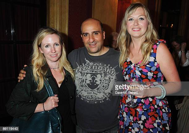Omid Djalili and his wife Annabel Knight with Suzy Kenway attend the cast change of ''Oliver'' at the Theatre Royal Drury Lane on July 20 2009 in...