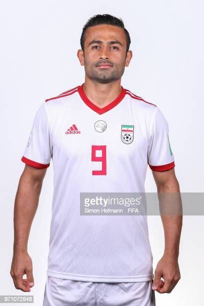 Omid Ebrahimi of Iran poses during the official FIFA World Cup 2018 portrait session at Bakovka Training Base on June 9 2018 in Moscow Russia