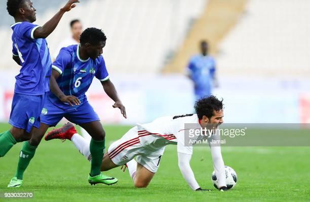 Omid Noorafkan of Iran in action during the International Friendly between Iran and Sierra Leone at Azadi Stadium on March 17 2018 in Tehran Iran