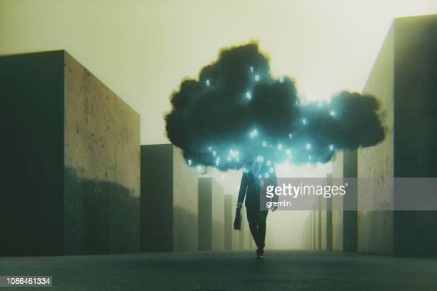 sinistre mobile image conceptuelle infonuagique - pluie humour photos et images de collection