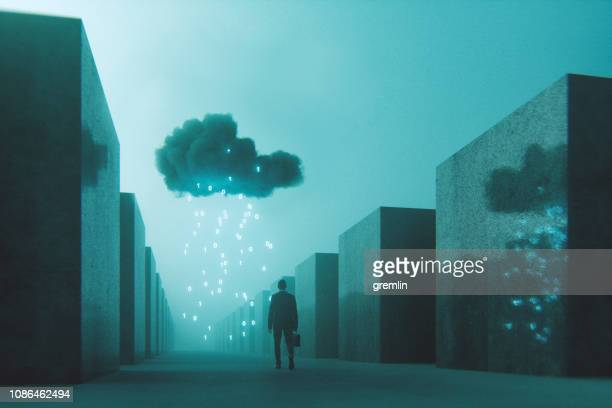 ominous mobile cloud computing conceptual image - ominous stock pictures, royalty-free photos & images