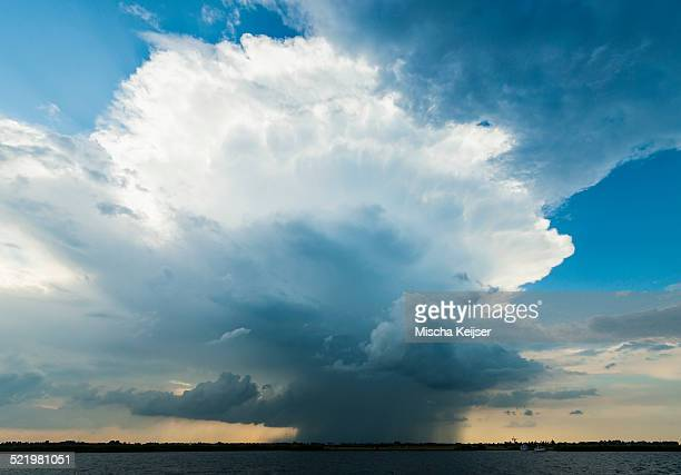 Ominous storm cloud over lake, Sneek, Friesland, the Netherlands