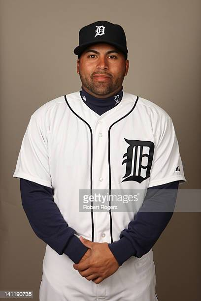 Omir Santos of the Detroit Tigers poses during Photo Day on Tuesday February 28 2012 at Joker Marchant Stadium in Lakeland Florida