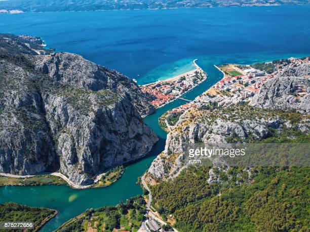 Omis and Cetina river aerial view, Dalmatian Coast, Croatia.