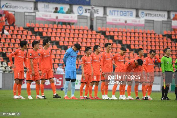 Omiya Ardija players applaud fans after the J.League Meiji Yasuda J2 match between Omiya Ardija and Tochigi SC at NACK5 Stadium Omiya on October 10,...