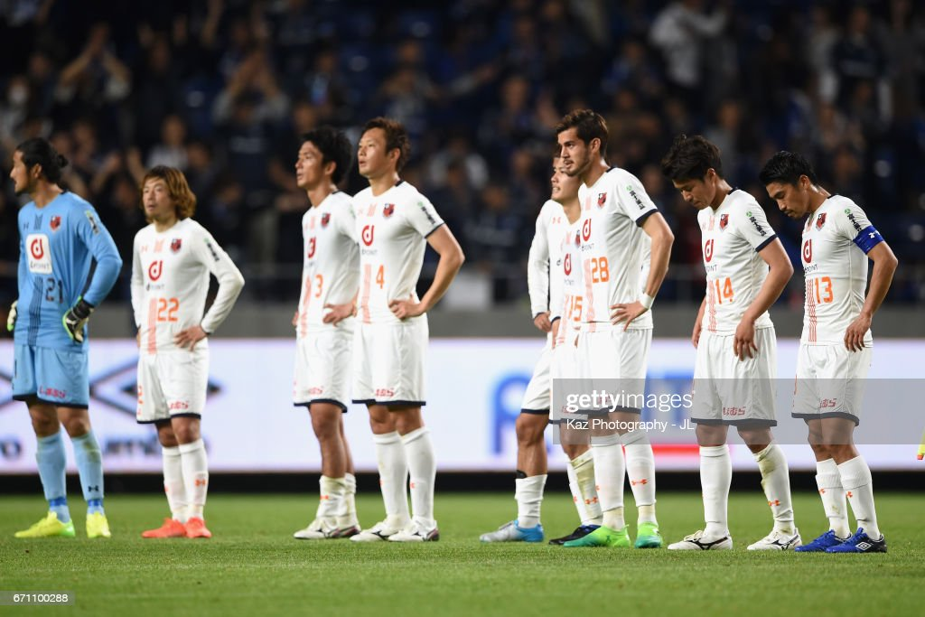 Omiya Ardija players show dejection after their 0-6 defeat in the J.League J1 match between Gamba Osaka and Omiya Ardija at Suita City Football Stadium on April 21, 2017 in Suita, Osaka, Japan.