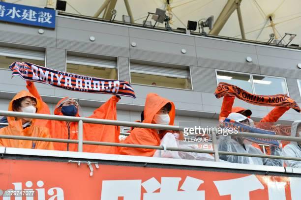 Omiya Ardija supporters cheer prior to the J.League Meiji Yasuda J2 match between Omiya Ardija and Tochigi SC at NACK5 Stadium Omiya on October 10,...