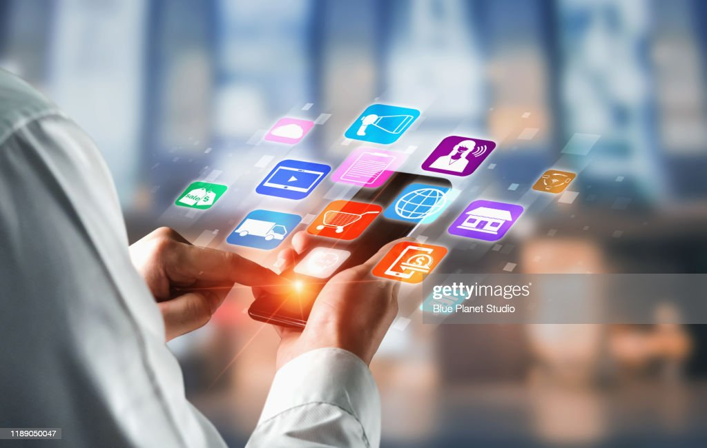 Omni channel technology of online retail business. : Stock Photo