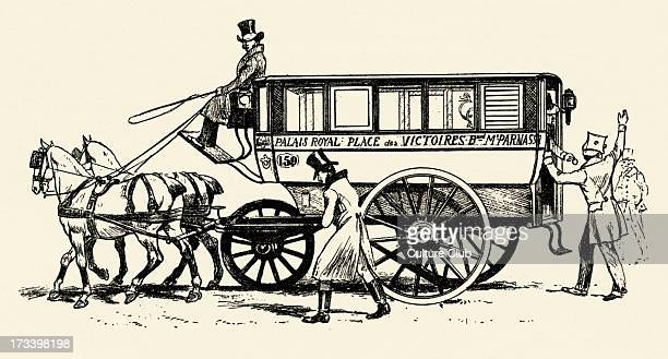 Omnibus with three wheels Paris 1828 Destinations indicated on side of carriage Palais Royal Place des Victoires Boulevard de Montparnasse