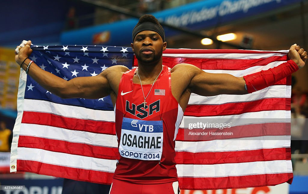 Omo Osaghae of the United States celebrates winning the gold medal in the Men's 60m Hurdles Final during day three of the IAAF World Indoor Championships at Ergo Arena on March 9, 2014 in Sopot, Poland.
