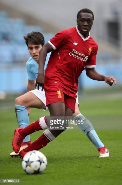 OmoboLajl Adeekanye of Liverpool during the UEFA Youth League QuarterFinal at Manchester City Football Academy on March 14 2018 in Manchester England