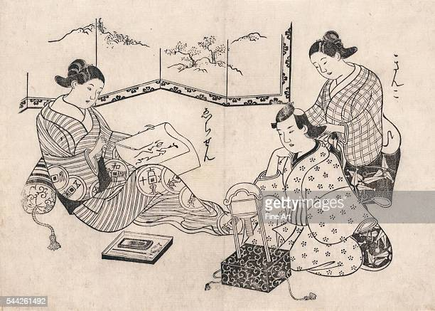 between 1700 and 1704 Woodcut 249 x 347 cm Kinko and Echizen Two women one seated writing a letter the other pulling back the hair of a man sitting...