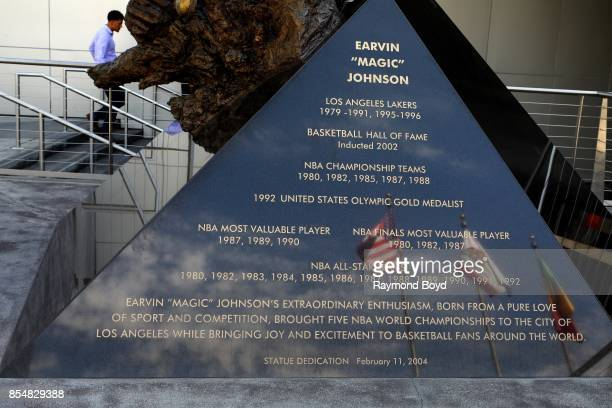 Omri Amrany and Gary Tillery's statue base of former Los Angeles Lakers basketball player Ervin 'Magic' Johnson in Star Plaza at Staples Center home...