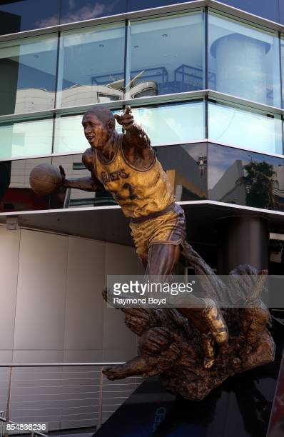 Omri Amrany and Gary Tillery's statue of former Los Angeles Lakers basketball player Ervin 'Magic' Johnson stands in Star Plaza at Staples Center...