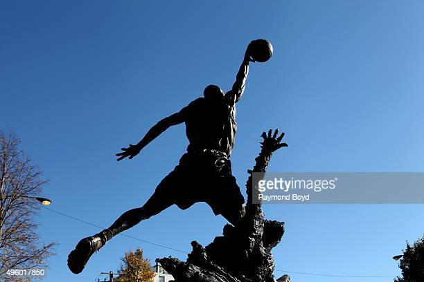Omri Amrany and Julie Rotblatt-Amrany's Michael Jordan statue, officially known as 'The Spirit' sits outside the United Center, home of the Chicago...