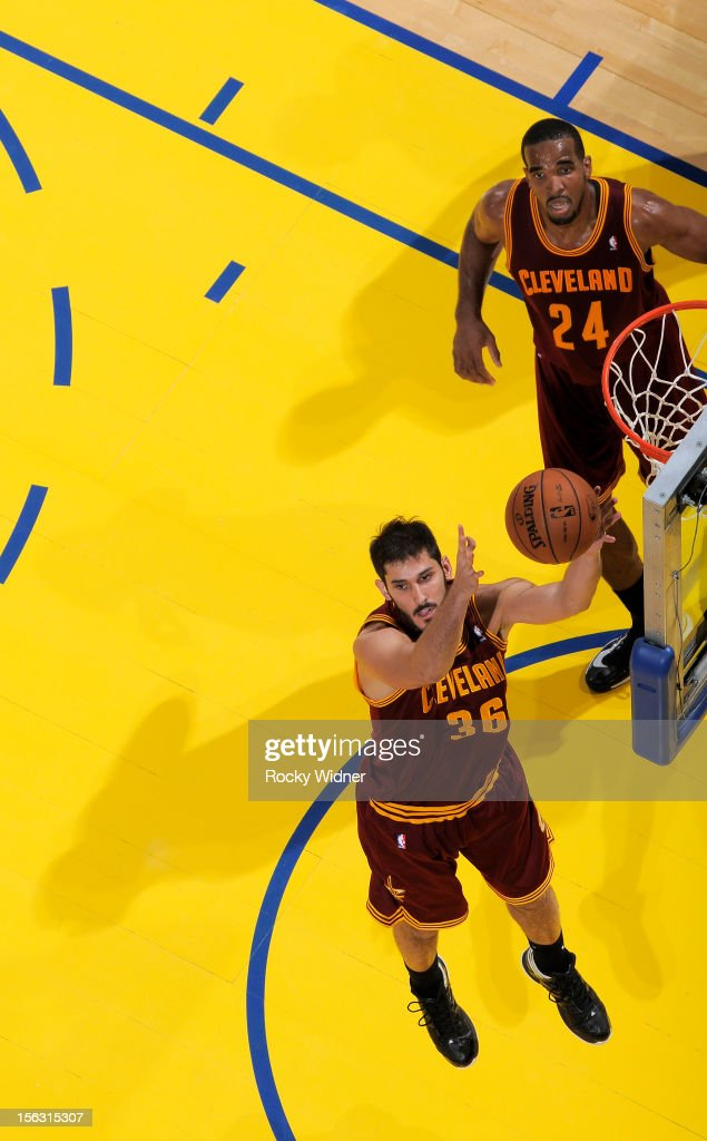 Omri Casspi #36 of the Cleveland Cavaliers grabs the rebound against the Golden State Warriors on November 7, 2012 at Oracle Arena in Oakland, California.