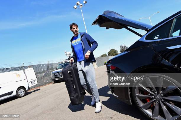 Omri Casspi of the Golden State Warriors arrives at the airport for 2017 NBA Global Games China on October 1 2017 at Signature Flight Support in...